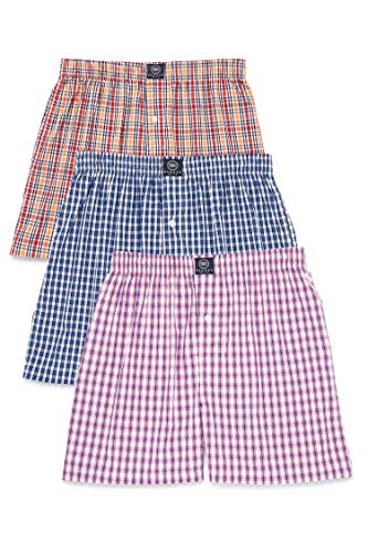 Badger Smith Men's 3 - Pack 100% Cotton Checks Multicolor Boxer Shorts Extra Large
