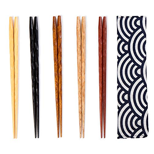 5 Pairs Chopsticks Reusable Set - Japanese Natural Wooden Chop Stick Set with Case as Present Gift