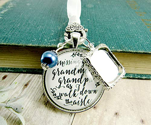 (Bouquet Charm Bridal Memorial Grandma And Grandpa Missing You On Wedding Day Loving Memory Vintage White Silver Blue Bead Custom Picture Frame)