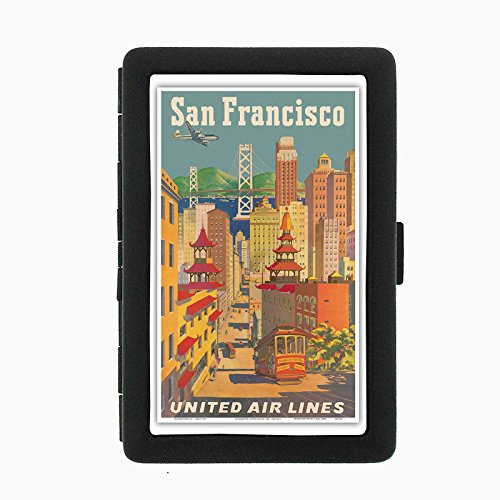 Perfection In Style Black Color Metal Cigarette Case D-048 San Francisco, California - United Air Lines - Cable Car in Chinatown - Vintage Airline Travel