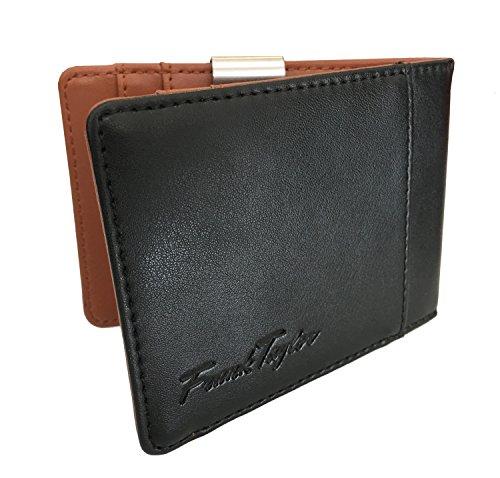 Handmade Leather Money Clip Wallet by Frank Taylor - Warranty, RFID, Minimalist (Black / Brown)