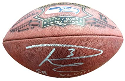 cd2faf5da03 Russell Wilson Signed Limited Edition Super Bowl Leather Football Seattle  Seahawks SB XLVIII Champs RW -