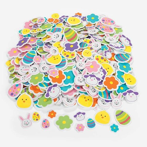 500 Colorful Easter Shapes adhesive /ARTS & Crafts/SCRAPBOOKING Supplies/SELF ADHESIVE/HOLIDAY ACTIVITY (Easter Bunny Crafts)