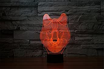 ATD 3D Visualization Optical Illusion Wolf Acrylic Colorful Gradient LED Touch Home Decor Night Lighting Desk Lamp