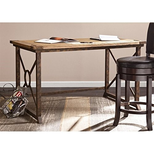 Southern Enterprises Knightley Tilt-Top Drafting Table 51.5' Wide, Weathered Oak Finish with Antique Brass