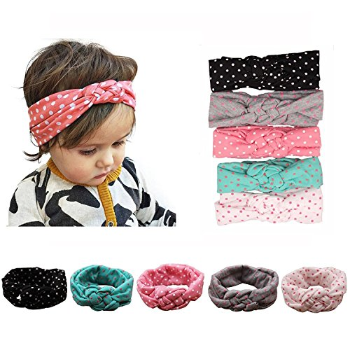 Knot Usa Turban (Zando Baby Girls Toddler Kids Cute Turban Headband Head Bows Soft Sweet Hairband Dot Knot/5 Pack)