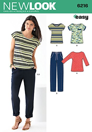 Simplicity New Look Easy Pattern 6216 Misses Knit Tops and Pants Sizes 8-10-12-14-16-18 (Knit Look New Tops Misses)