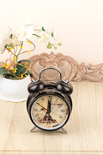 Black Vintage Paris Table Clock Gifts Twin Bell Table Alarm Clock Table Decorative Centre Piece-Ideal Gift for, Wedding, Party, Home Décor, Living Room, Office.