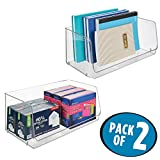 mDesign Stackable Plastic Storage Organizer Bin Basket for Desk, Book Shelf, Filing Cabinet - Container for Office Supplies, Sticky Notes, Pens, Pencils, 15'' Wide, 2 Pack, Clear