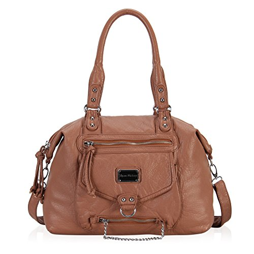 Hynes Victory Multi Front Pockets Shoulder Bags (Brown+)