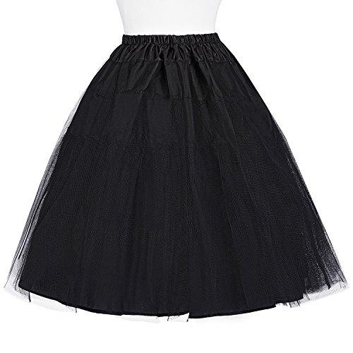 Mujer Cancán Retro Belle de Vintage Vestido Negro para Miriñaque Falda Poque® Enaguas Tul Tutú pqqTEAz