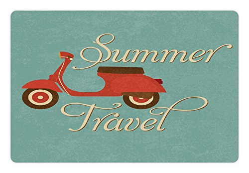 (Lunarable 1960s Pet Mat for Food and Water, Summer Travel Scooter Vacation Vespa Classic Wheels Rock Cool Hippy Motorbike, Rectangle Non-Slip Rubber Mat for Dogs and Cats, Teal Red Cream)