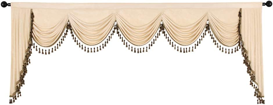 ELKCA Custom Made Chenille Waterfall Valance for Bedroom Window Curtains Valance for Living Room (Valance,Beige, W138)