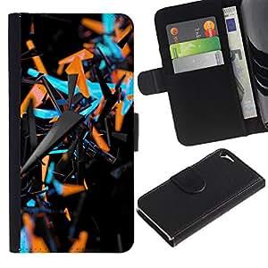 A-type (Blue Orange Abstract 3 D Black Pattern) Colorida Impresión Funda Cuero Monedero Caja Bolsa Cubierta Caja Piel Card Slots Para Apple Iphone 5 / 5S