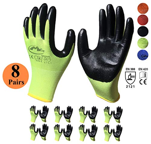 Nitrile Latex Rubber Palm Coated Safety Work Gloves, Nylon Knit, Grip Palm (8 Pair Value Pack) (Large, Green)