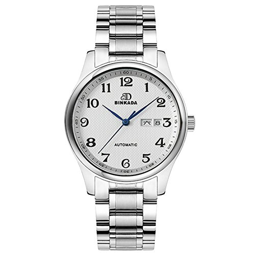 BINKADA Men's Stainless Steel White Dial Waterproof Arabic Numeral Scale Automatic Mechanical Wrist Watches (Arabic Plain Dial White)