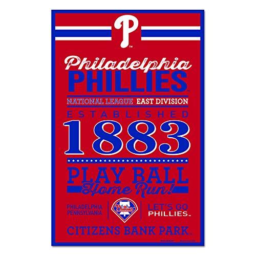 - Wincraft MLB Philadelphia Phillies SignWood Established Design, Team Color, 11x17
