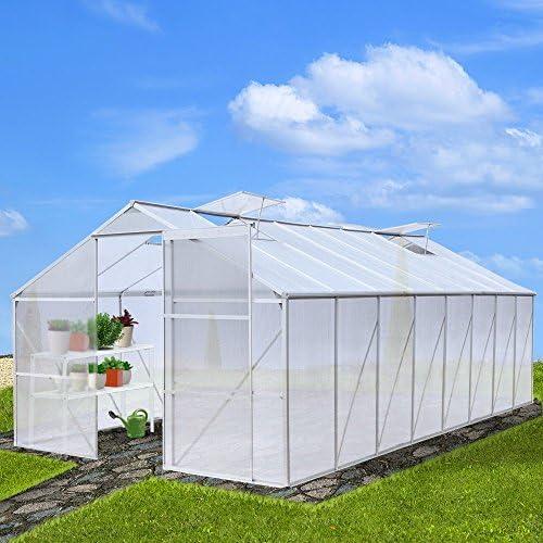Jago Walk-in de casa Verde policarbonato Invernadero Plantas de jardín con o sin Base en Diferentes tamaños, Sans fondation, 19, 97 m³: Amazon.es: Hogar