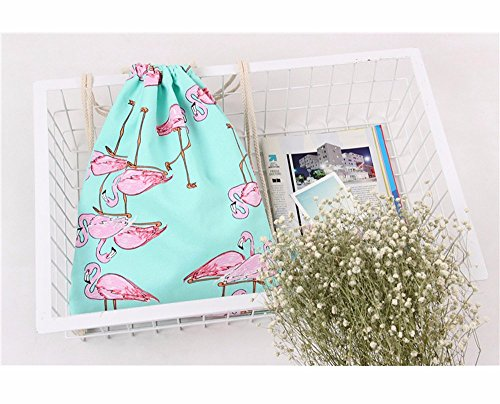 Retro Backpack Geometric Printing TianranRT Unisex Drawstring Bags Backpacks Flamingos Green wqSBfxBR