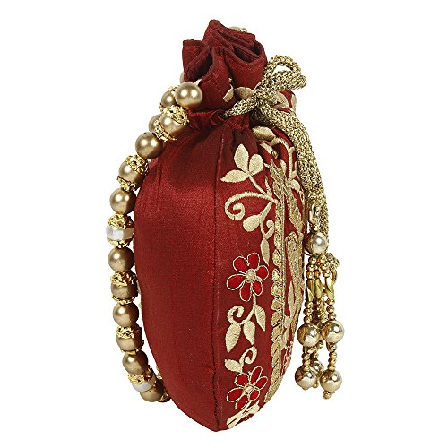 Womens Colour Purse Collection Maroon Beautiful For Potli Embroidery Purse Floral wX4x7fz
