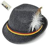 Melesh Adult Felt German Alpine Bavarian Oktoberfest Hat Cap