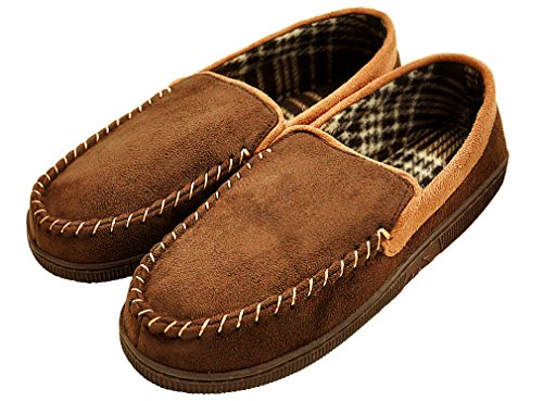 MIXIN Men's Casual Pile Lined Indoor Outdoor Rubber Sole Micro Suede Moccasin Flats Slippers Brown and Khaki Size 9.5 - 10.5