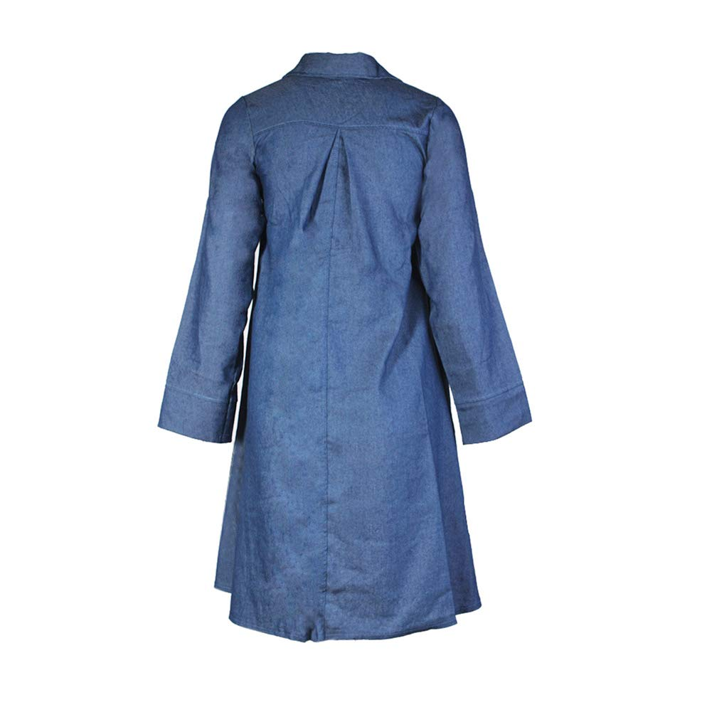 a41eb9250c iShine Women s Casual Denim Shirt Dress Long Sleeve Button Down Dress  Pocket Denim Shirt Asymmetrical Dress at Amazon Women s Clothing store