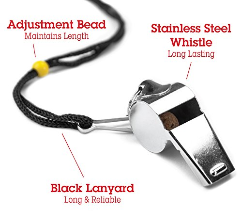 Crown-Sporting-Goods-Stainless-Steel-Coach-Whistle-with-Lanyard