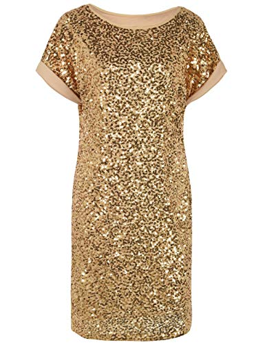 PrettyGuide Women's Sequin Dress Oversized Glitter Short Sleeve Party Gown Club Dress L Gold