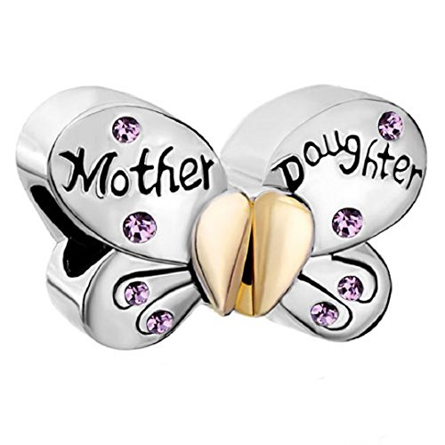 Mother Daughter Separable Butterfly 925 Sterling Silver Crystal Heart Mom Bead Fit European Charms (Alexandrite June Birthstone)