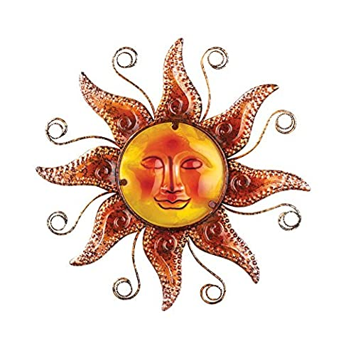 Metal Sun Wall Decor With Glass Beaded Accents, Gold (Outdoor Decor)