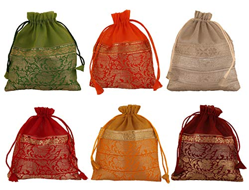 Touchstone New Gorgeous Indian Traditional Paisley Brocade Large Drawstring Purse Bag Pouch Potli for Gift Wedding Jewelry Packaging Bridal Party Favors Assorted Colors Set of 6 for Women