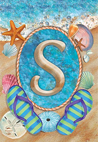 Briarwood Lane Summer Monogram Letter S Garden Flag Flip Flops Seashells 12.5
