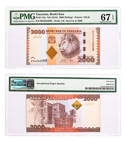 2010 TZ () Benki Kuu 2000 Shilingi Note - Pick # 42a EPQ 2,000 Shilling Superb Gem Unc 67 PMG