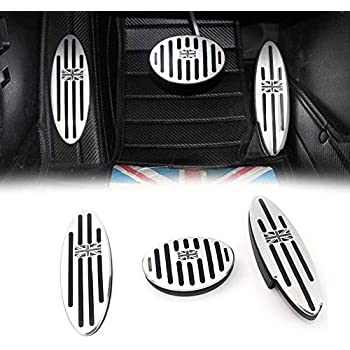 MYMOCCY Stainless Steel Gas Fuel Brake Foot Rest Pedal Cover for Mini Cooper Hatch Convertible Countryman Clubman Roadster LHD Accessories No Drill Plate