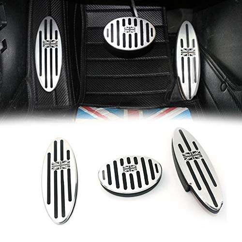GTINTHEBOX Black/Gray Union Jack AT Auto Aluminum Pedal Cover, Anti-slip Pedals No Drill Gas Brake Pedal and Footrest Pedal Pad For Mini Cooper Countryman, Clubman, Roadster, Hatch, Paceman, ()