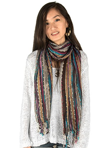 Shimmer Scarf (Women Soft Shimmer Sparkle Scarf Colorful Boho Hippie Tassel Wrap Fringe Summer)
