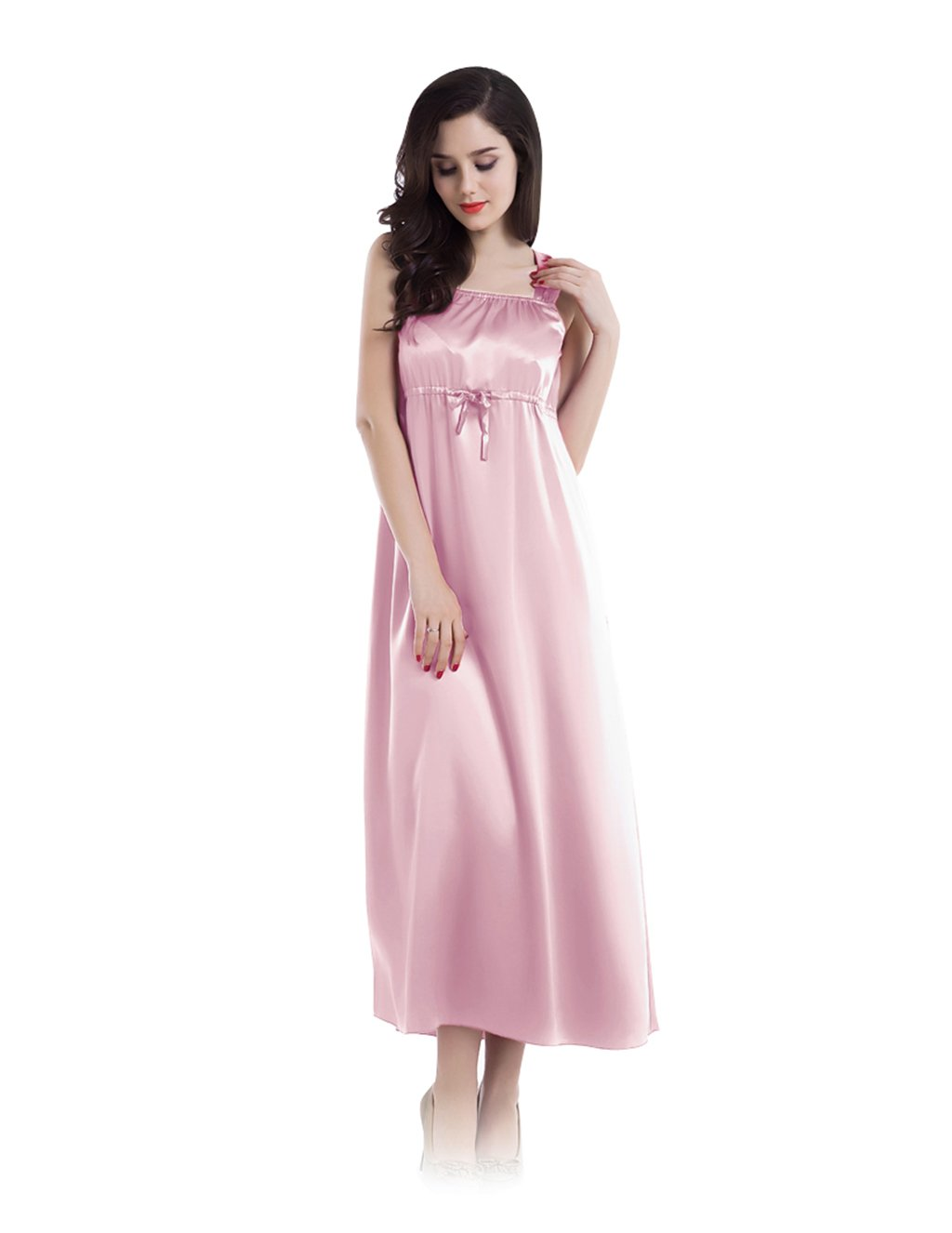 22 Momme square neckline empire style dress full-length silk nightgown