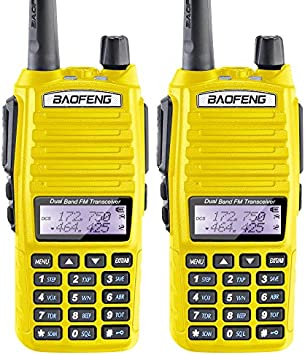 2PCS BaoFeng 5W UV-82 Dual Band UV82 VHF UHF Analog Portable Two-Way Radio Yellow