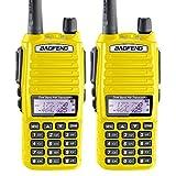 2PCS BaoFeng 5W UV-82 Dual Band UV82 VHF/UHF Analog Portable Two-Way Radio Yellow