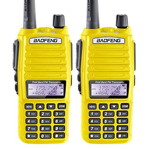 2PCS BaoFeng 5W UV-82 Dual Band UV82 VHF UHF Analog Portable Two-Way Radio Yellow