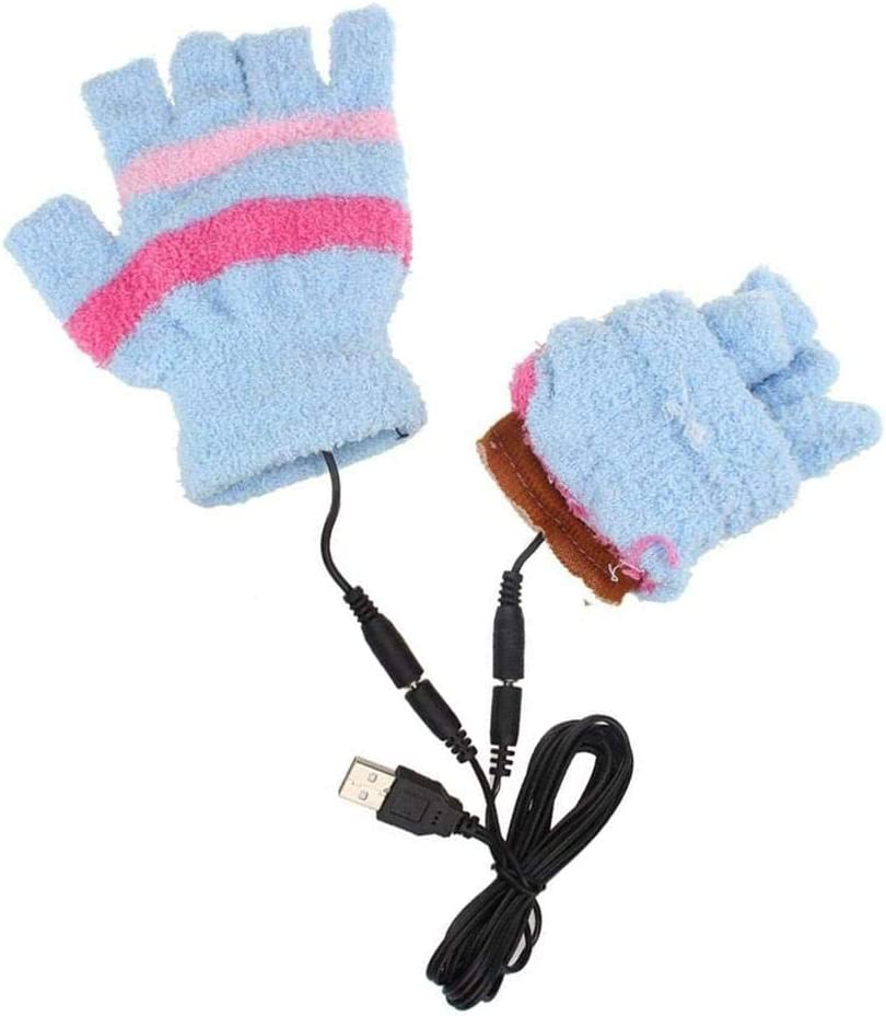 xlcukx USB Heated Gloves Winter Heating Gloves For Men And Women USB Powered Washable Half Finger Warm Mitten For Cycling Motorcycle Hiking Skiing And Mountaineering