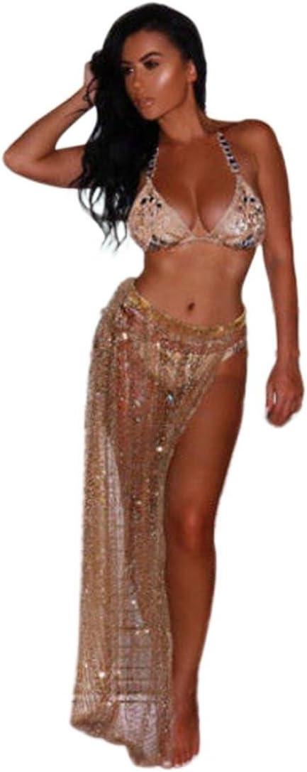 sunyoyo mujeres lentejuelas sarong Wrap pareo falda playa bikini ...