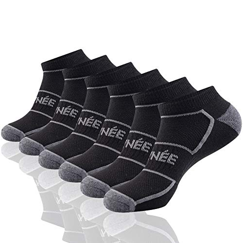 Mens Low Cut Ankle Athletic Socks With Breathable Mesh Soft Cushion For Running 6Pack ()