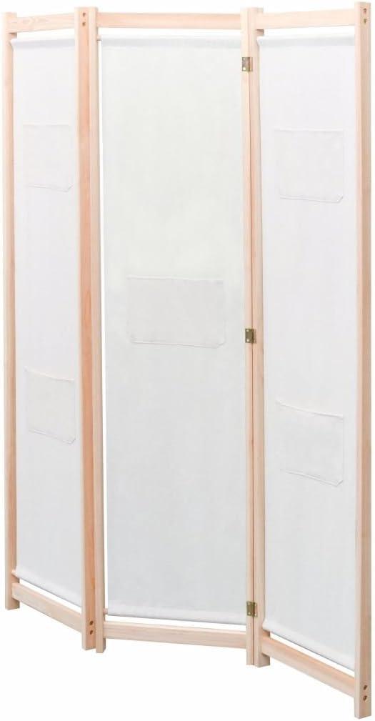 Nishore Biombo Divisor 3 Paneles de Tela Cremqa 120 x 170cm Madera ...