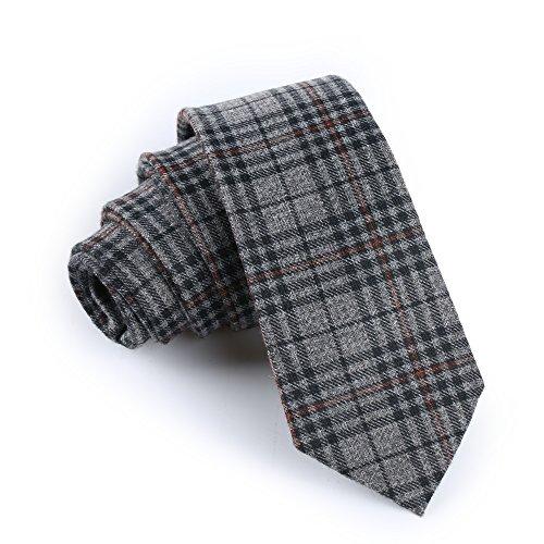 Elviros Mens Eco-friendly Handmade Plaid Cashmere Wool Slim Tie 2.4'' ( 6cm ) Tartan D Cashmere Wool Tie