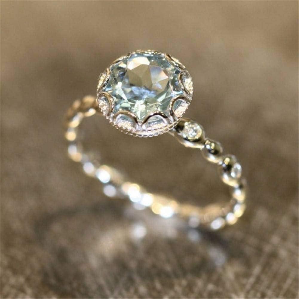 BAJSKD Anillos de Compromiso de Cristales Personalizados para Mujeres con AAA Cubic ZirconiaAnillo dePlata con Piedras Preciosas de Color Aguamarina