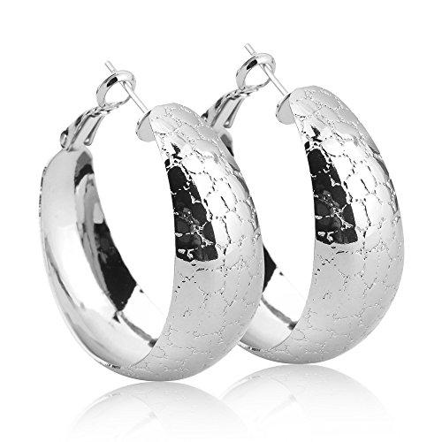 Silver Wide Hoop Earrings Women