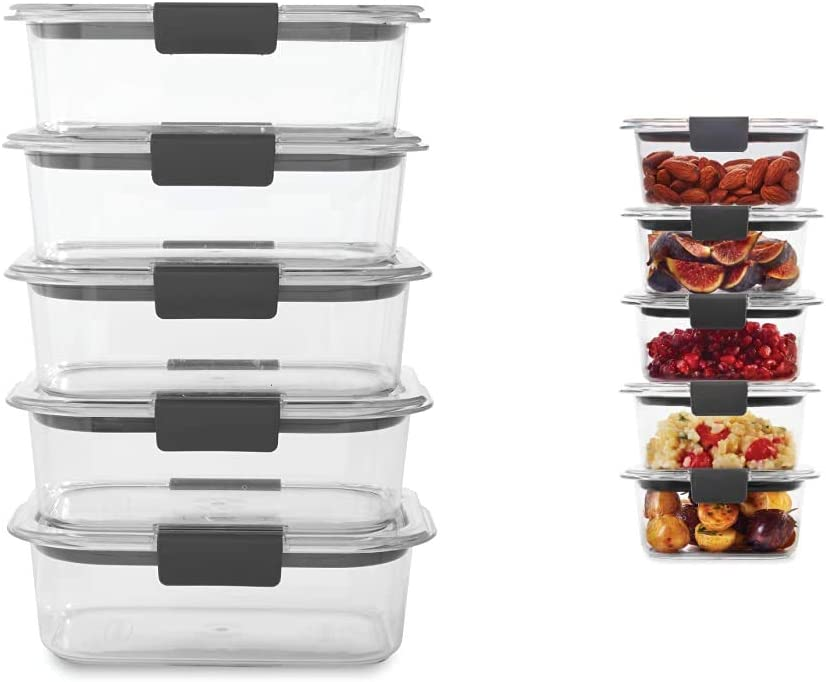 Rubbermaid Brilliance Food Storage Container, Medium, 3.2 Cup, 5 Pack, Clear & Leak-Proof Brilliance Food Storage Set, 1.3 Cup Plastic Containers with Lids, 5-Pack, Clear