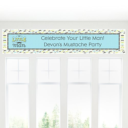 Big Dot of Happiness Custom Dashing Little Man - Personalized Mustache Themed Party Decorations Party Banner